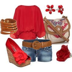 Red, created by johnna-cameron on Polyvore.. Love this all