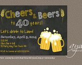 40th Birthday Party Invitation Cheers and Beers Birthday Invitation Printable Invitation Beers Invitation Chalkboard 40th Birthday Invite