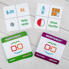 Is your little one learning units of measurement, currency, or fractions? Try out Numtanga, our fun card game that helps students master these skills! #currency #fractions #fractionsworksheets #cardgames #mathgames #mathflashcards Learning Fractions, Fractions Worksheets, Subtraction Games, Addition And Subtraction, Math Fraction Games, Math Flash Cards, Math Card Games, Addition Games, Math Activities For Kids