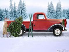 Red Truck in the Snow <3