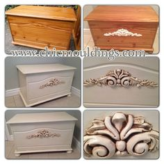 Beautiful Pine Chest Makeover using my mouldings. Can be found here: http://www.chicmouldings.com/shop/large-ornate-scroll-2  www.chicmouldings.com