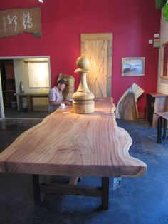 Russian River Road Redwood Slab Finished for our Show room Inja in San Francisco
