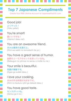 Learn Japanese - JapanesePod101.com — Learn 8 more Japanese compliments and listen to... #learnjapaneseforkids