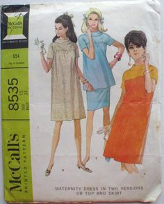 1960's Maternity Dress or Top and Skirt - McCall's 8535 Sewing Pattern - Size 10, Bust 31 by Shelleyville on Etsy