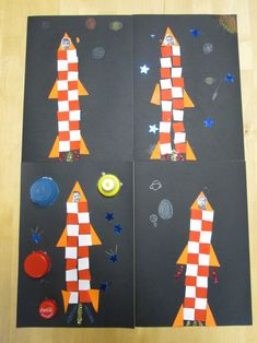 Make rockets with repeating patterns. Perfect integration with a space unit! Space Preschool, Space Activities, Sistema Solar, Apolo Xi, School Wide Themes, Maternelle Grande Section, Space Solar System, Outer Space Theme, Elements And Principles