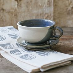 Cappuccino Pottery Cup and Saucer with Mug Towel  | Rustic North Carolina Handmade Kitchen Decor