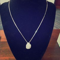 Oval Crystal And White Pendant Necklace