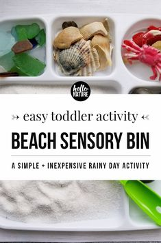 Looking for easy indoor toddler activities? This Beach Sensory Bin is a great way to explore nature with children and keep them entertained inside! #Sensory #SensoryPlay #SensoryBin #ExploreNature #ToddlerActivities #IndoorToddlerActivities #RainyDayActivities