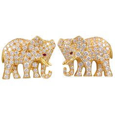 1stdibs | CARTIER Diamond Elephant Earrings