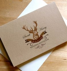 stag 'the hunt is over' wedding stationery by chandler invitations | notonthehighstreet.com