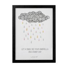 "Grafika w ramce -65zł  ""Let a smile be a your umbrella on a rainy day"""
