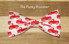 Red Trucks, Red and White Truck Bow Tie Clip on Bow Tie by ThePunkyRooster