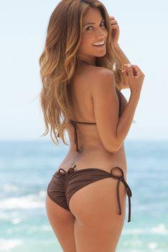 Solid Brown Scrunch Up® Bikini Single Rise Triangle Top