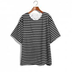 $6.62 Bat-Wing Sleeves Scoop Neck Stripe Refreshing Style Polyester T-Shirt For Women