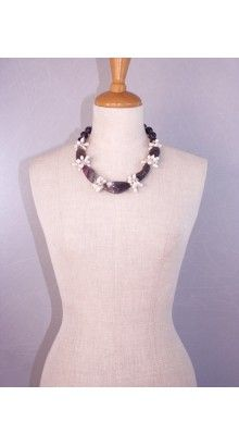 #vanyta #necklace #glam #jewel.Bright necklace characterized by a multitude of #pearls which alternate with the #amethyst; near the closure, spheres in amethyst alternate with small #crystal spheres.#59,00