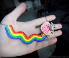 Nyan Cat Necklace, Geek Jewelry, Internet Meme from OlechkaDesign on Etsy. Geek Jewelry, Unique Jewelry, Nyan Cat, Cat Necklace, Geek Gifts, Band Tees, Nerdy, Polymer Clay, Geek Stuff