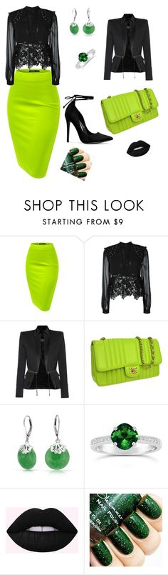 """""""Cool party!"""" by mirela-aljic ❤ liked on Polyvore featuring self-portrait, Balmain, Chanel, Bling Jewelry and greenandblack"""