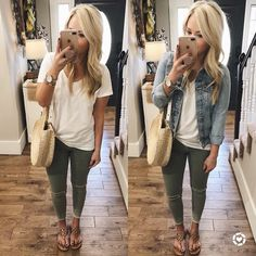 "614 Likes, 76 Comments - Lauren Holifield (@lauren_holifield) on Instagram: ""Happy Tuesday! Since the weather is acting crazy lately... I find myself wearing a lot of camis +…"" Jeggings, White Tees, Knots, Simple Jewelry, Denim, Fashion Jewelry, Jackets, Color, Colour"
