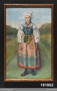 Oljemålning  Den som målade var Emelie von Walterstorff, amanuens och textilexpert vid museet mellan 1903 och 1933.