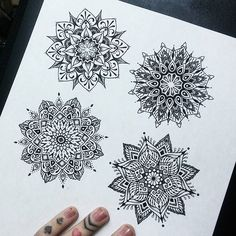 Small pile of mandalas that I worked on today .. #drawing #mandala #fineliner #illustration #mandalaart #sketch #pointillism #lineart #patterns #symmetry #dotwork #blackwork #blxckmandalas #geometric