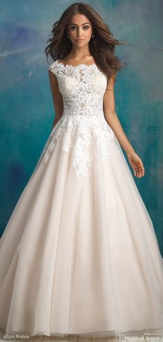 Allure Bridals Spring 2018 tulle ballgown - A bateau neckline and delicate cap sleeves compose the bodice of this tulle ballgown.