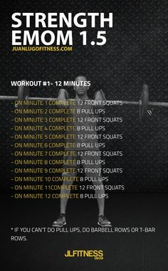 12 Minute Strength EMOM 1.5- 12 front squats and 8 pull ups. #emom
