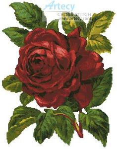 Red Rose - Flowers cross stitch pattern designed by Tereena Clarke. Category: Roses.