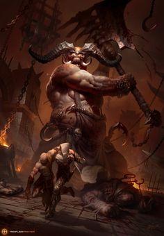Fresh Meat! by TamplierPainter demon devil giant monster beast creature animal…