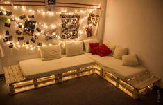 Couch selber bauen - CJ Lernen - #balkonideensitzen #bauen #Couch #Lernen #selber Diy Sofa, Hall Interior, Best Interior, Palette Couch, Chill Out Room, Corridor Design, Lounge, Pallet Sofa, Home Furniture