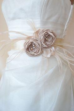 BEAUTIFUL! - Handcrafted  Champagne Two Flowers Wedding Dress  Bridal Sash Belt