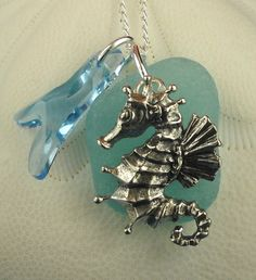 Sea Glass Necklace Sterling Seahorse Aqua Sea by seaglassgems4you, $48.00