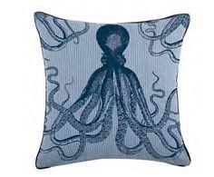 """Octopus Seersucker 22"""" Pillow in Ink design by Thomas Paul"""
