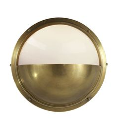 Visual Comfort TOB2208HAB-WG Thomas O'Brien Pelham Moon Light in Hand-Rubbed Antique Brass with White Glass