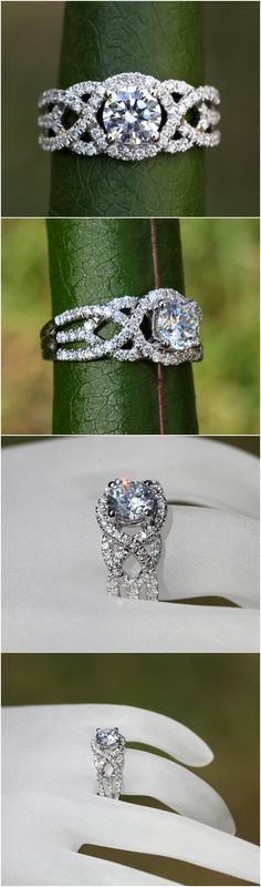 TWIST OF FATE - BeautifulPetra.com - .50 carat center Diamond Engagement Ring - 14k White gold - Halo - Unique - Swirl - Pave - Bp024