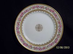 C H Haviland Plate G D A Variant of Schleiger 198 Pink Yellow Roses Gold 8.50