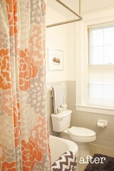 Orange And Grey Shower Curtain With Chevron Towel I Have This In Green