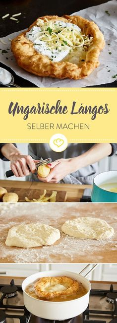 Lángos - the Hungarian original for do-it-yourself-Lángos – das ungarische Original zum Selbermachen Lángos are traditional flatbreads from Hungary. Discover the original recipe of the crispy yeast dough flatbread with sour cream and cheese. Pizza Recipes, Mexican Food Recipes, Beef Recipes, Shrimp Recipes, Brunch Recipes, Cake Recipes, Breakfast Recipes, Sour Cream Cake, Snacks