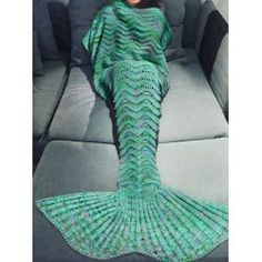 SHARE & Get it FREE | Comfortable Multicolor Knitted Mermaid Tail Design…
