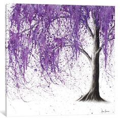 Leinwandbild Violet Vale von Ashvin Harrison East Urban Home Nature Art Drawings, Canvas Prints, Fine Art Painting, Tree Painting, Painting, Giclee Art Print, Abstract Canvas Art, Art, Abstract