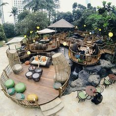 jimbaran lounge, bali, indonesia Lake Garden, Garden Cafe, Lounge Design, Cafe Design, Restaurant Interior Design, Cafe Interior, Landscape Architecture, Landscape Design, Farm Layout