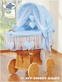My Sweet Baby - Hearts Wicker Crib Moses Basket - Blue Folding Canopy, Moses Basket, Baby Hands, Baby Cribs, Cot, Bassinet, Nursery Decor, Wicker, Mattress
