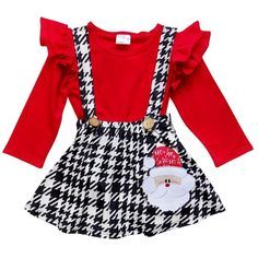 Christmas Santa Houndstooth Flutter Sleeve Suspender Skirt Set– Sydney So Sweet Santa Dress, Santa Outfit, 2 Piece Outfits, Girl Outfits, Winter Date Outfits, Toddler Boutique, Inexpensive Dresses, Cute Christmas Outfits, Suspender Skirt