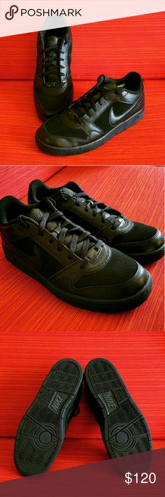 💲99✂NWOB Nike Air All Black Men's Size 9.5 ✨NEW!!  RARE all black look!   AUTHENTIC MENS SIZE 9.5 (US) ⏩Bought this for my husband but he never got around to wear it ⏩In 100% perfect condition, no scuff, no stains, no rips! No flaws at all. Brand spanking new! Still so shiny! ⏩Revamped leather & breathable suede upper for enhanced durability & comfort ⏩Comfortable padded tongue ⏩Lace-up closure for optimal fit ⏩Rubber outsole for durable multi-surface traction ⏩In all black for classy…