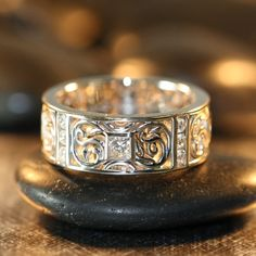 Princess Cut Diamond Ring Mens Celtic Wedding Band 14k White Gold Diamond Wedding Ring Anniversary Ring (Other Metals & Stones Available)