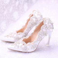 Verano zapatos de boda Rhinestone cenicienta zapatos cristalinos Slipper blanco novia de la boda zapatos mujer calzado…