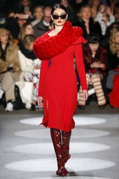 Christian Siriano Fall 2016 Ready-to-Wear collection, Look 9. There is a great dress under that python-esque scarf.