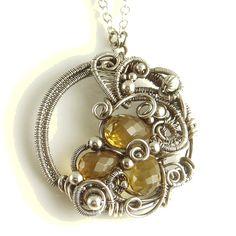 Cognac Quartz Gemstone Circle Necklace