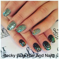 Gel II reaction after dark with holographic chunky glitter on the tips beautiful colour changing nails