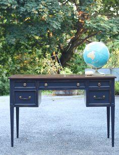 coastal blue desk with java gel top | Primitive and Proper