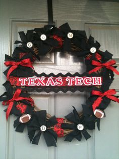 Texas Tech college wreath with monogrammed door hanger by joelybun, $45.00